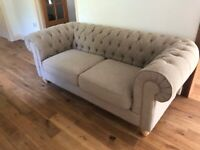 Debenhams Chesterfield Sofas (Natural Hessian) ***DELIVERY AVAILABLE***