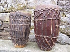 Vintage African drums. Very playable but also a collector's item.