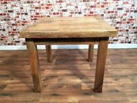 Space Saving Extending Rustic Farmhouse Dining Table Hardwood Finish - Folding & Ergonomic