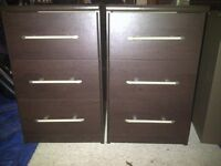 2 Dark walnut bedside tables, 3 drawers with chrome handles