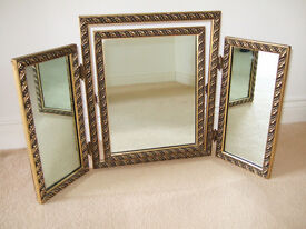Old ornate triple dressing table mirror