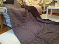 Large bed throw reversible, being grey on one side , choc on the reverse