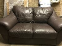 DFS 2 seater brown leather sofa