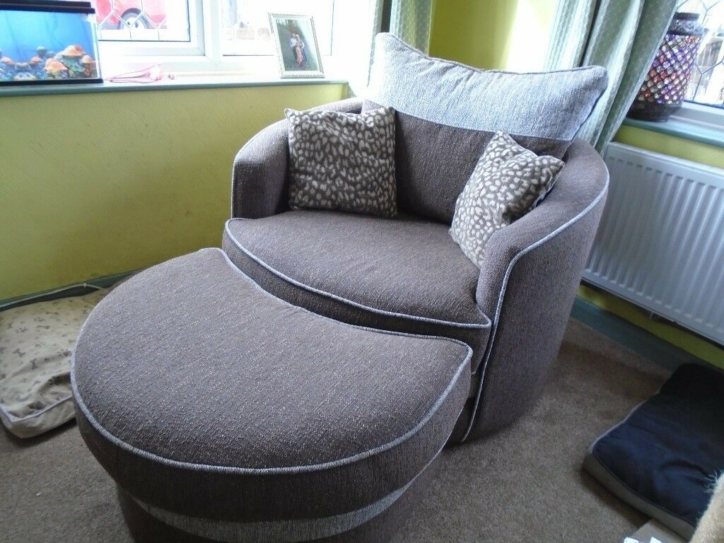 Large Cuddle Swivel Chair With Matching Stool Approx 2 ...
