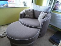 Large Cuddle Swivel Chair With Matching Stool Approx 2 years old Excellent Condition