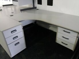 Second grey and white 1800 desk with pedestals-very good condition