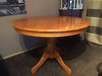 Round Wooden Table with 4 Matching Chairs