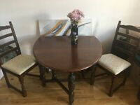 Walnut wood solid folding dining table with chairs