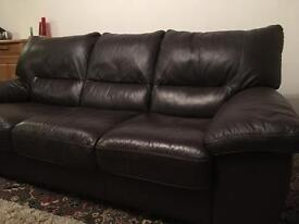 3 Seater Leather Sofa and Armchair