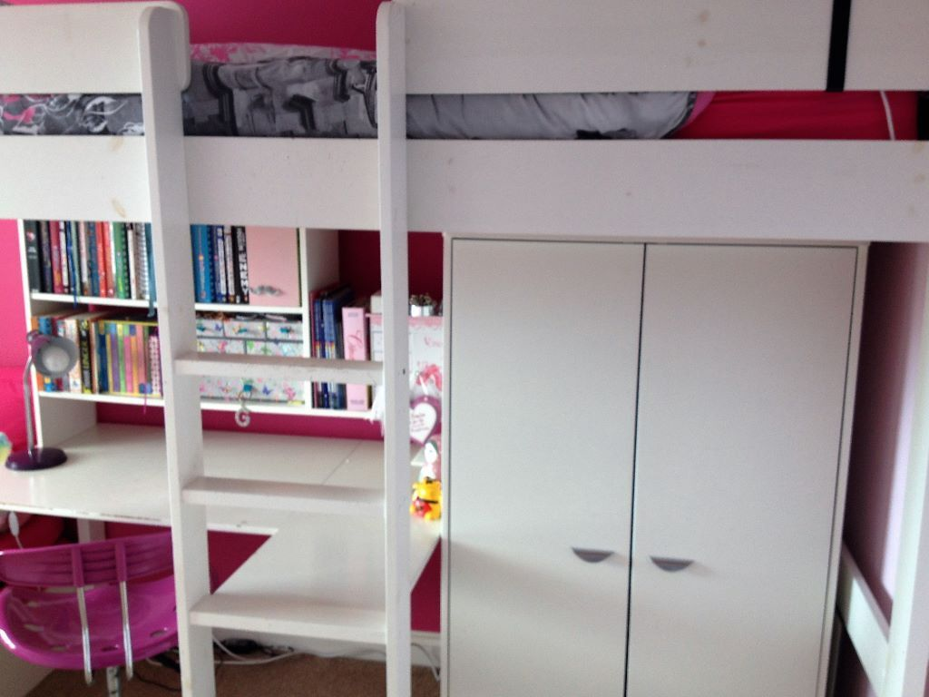 White Cabin Bed With Built In Desk And Bookshelf Matching Wardrope Fold Down