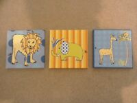 Set of 3 jungle animal pictures