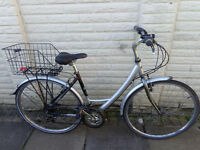 ladies reflex classic hybrid aluminium bike, basket, new lights, d-lock ready to ride free delivery