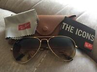 Rayban Aviators Brand New Brown & Gold