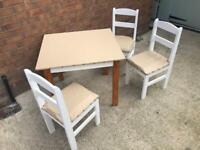 Small Dining / Handicraft / Homework Table & 3 Chairs