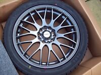 "X4 BARND NEW CALIBRE 17"" ALLOYS + TYRES 5X108 5X112 FORD JAGUAR AUDI A4 A6 VW GOLF MK5 MK6 T4 - MERC"
