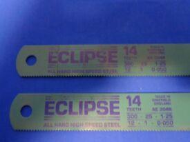 Eclipse Pair or Machine Hacksaw Blades 300 x 25 x 1.25 14 Teeth New Unused