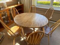 Vintage Ercol Dining table and 6 chairs