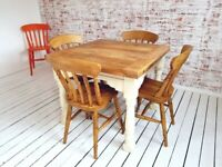 Space Saving Farmhouse Extending Rustic Dining Table Set - Drop Leaf Painted in F&B Ergonomic