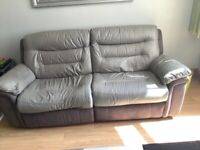 Grey three seater sofa and two leather chairs