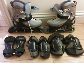 Inline skates size 5 + knee, elbow and wrist protectors