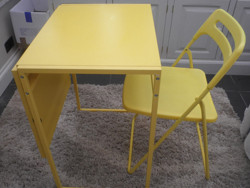 Ikea Muddus Drop Leaf Table In Yellow And Folding Chair Locks Heath Hampshire Gumtree