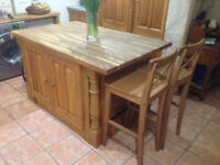 Kitchen Island - solid oak with storage and breakfast bar