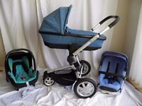 Quinny Buzz 3 Travel System Pushchair Dreami folding Carrycot And Maxi Cosi car seat