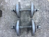 SET OF SOLID BAR DUMBELLS WITH 25KG OF CAST IRON WEIGHTS