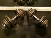 SOLD PENDING COLLECTION 2 x 28kg dumbells cast iron adjustable spinlock dumbbell weights