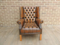 Luxury Whiskey Brown Leather Chesterfield Fully Buttoned Armchair (UK Delivery)
