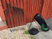 Dunlop Golf Clubs. Full Set Of Irons. Driver, 3 Wood, Putter & Bag. Good Condition