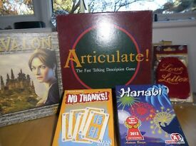 TableTop Games: Articulate, Avalon, Love Letters, Hanabi, No Thanks