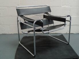 Wassily Chair-Black Leather and Chrome Lounge Excellent condition, Comfortable and stylish