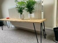TV unit or bench for plants, books etc. | Chip board top with hairpin legs