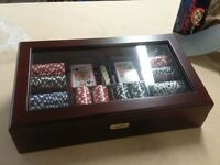 Brand New, Riley Casino Poker Chips - 11.5g chips in a Glass Fronted Mahogany Coloured Cabinet