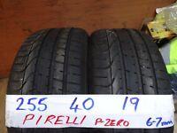 matching pair 255 40 19 pirelli p-zeros 6-7mm tread £90 pair supp & fittd(LOADS MORE AV 7-DAYS)