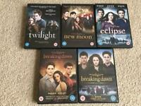 The twilight saga The complete collection perfect condition. X5 DVD's in cases with paper box.