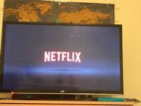 "JVC Television flatscreen 32"" smart TV DVD player"