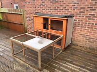 Rabbit Hutch and Run, with thermal hutch cover included, as well as other accessories