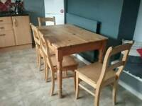 Hand made dinning table four chairs