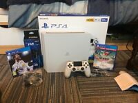 PlayStation 4 (PS4) Slim 500gb White with 3 games, controller, charging dock and new headset