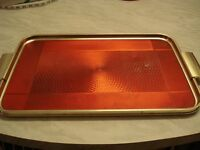 Vintage/retro Red/gold serving tray with handles, Woodmet Limited, Made in England