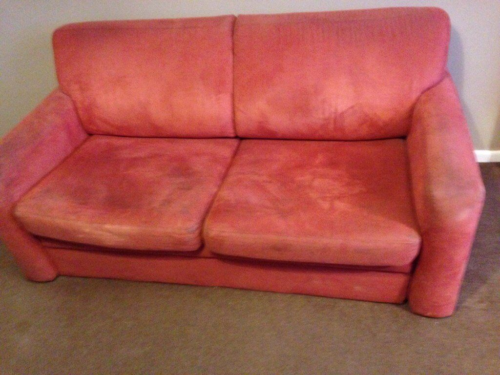 Free Three Seater Red Sofa Bed In Perranporth Cornwall