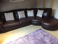 Ikea brown leather Sofa and Swivel Chair