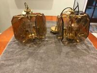 Two matching vintage chandelier type ceiling lights. Made in Italy. 4 lamps in each light.