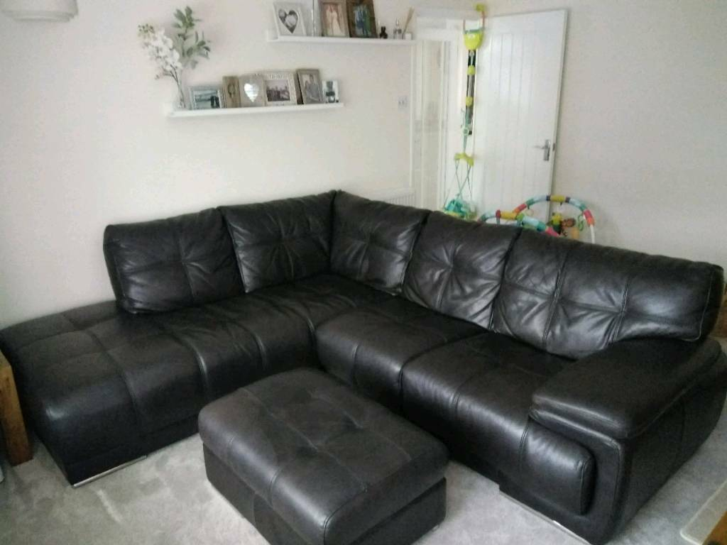 Real leather Sofology corner sofa and footstool