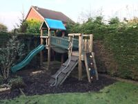 Jungle Gym climbing frame with tower, slide and sandpit