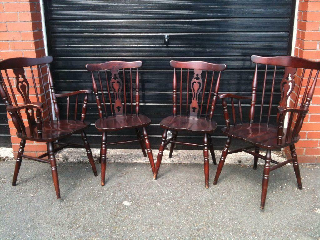4 Vintage Counrty Farmhouse Fiddle Back Dining Chairs 2