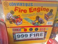 Children's toy fire engine bundle Book converts into engine + more