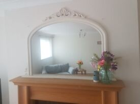 Large Cream Mantle Mirror